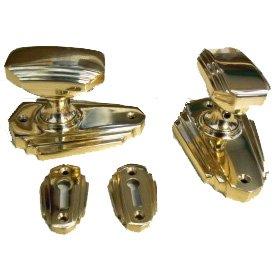 Art Deco Brass Mortice Doorknob Set SKIS02