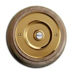 Brass  Doorbell on Natural Oak Plinth  DB057