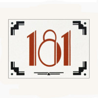 Art Deco Style Enamel Door Number