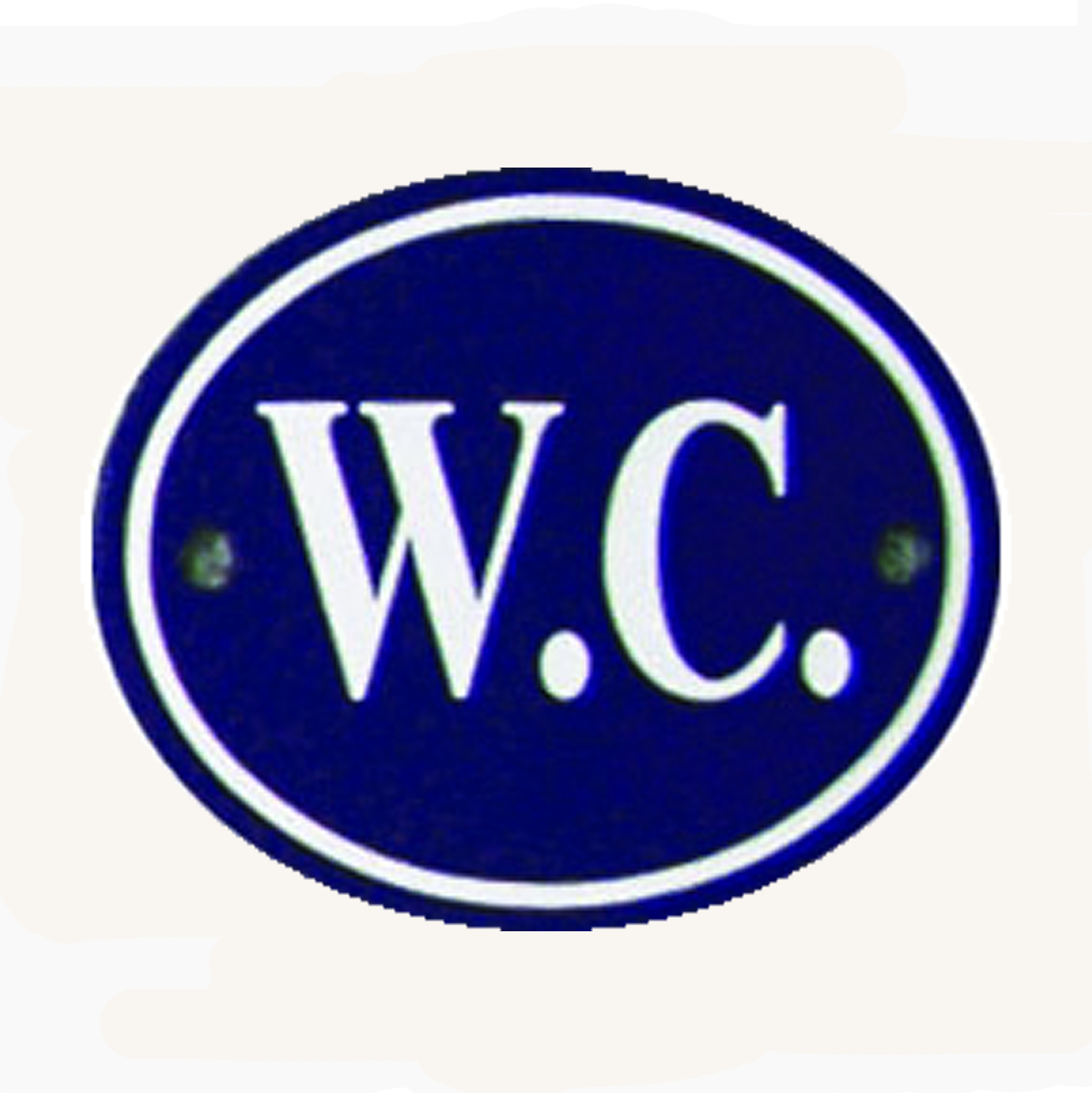 Blue & White Enamel WC Sign