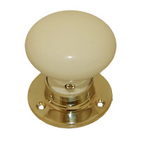Cream Porcelain & Brass Mortice Knobs