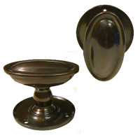 Edwardian Bronze Oval Doorknobs