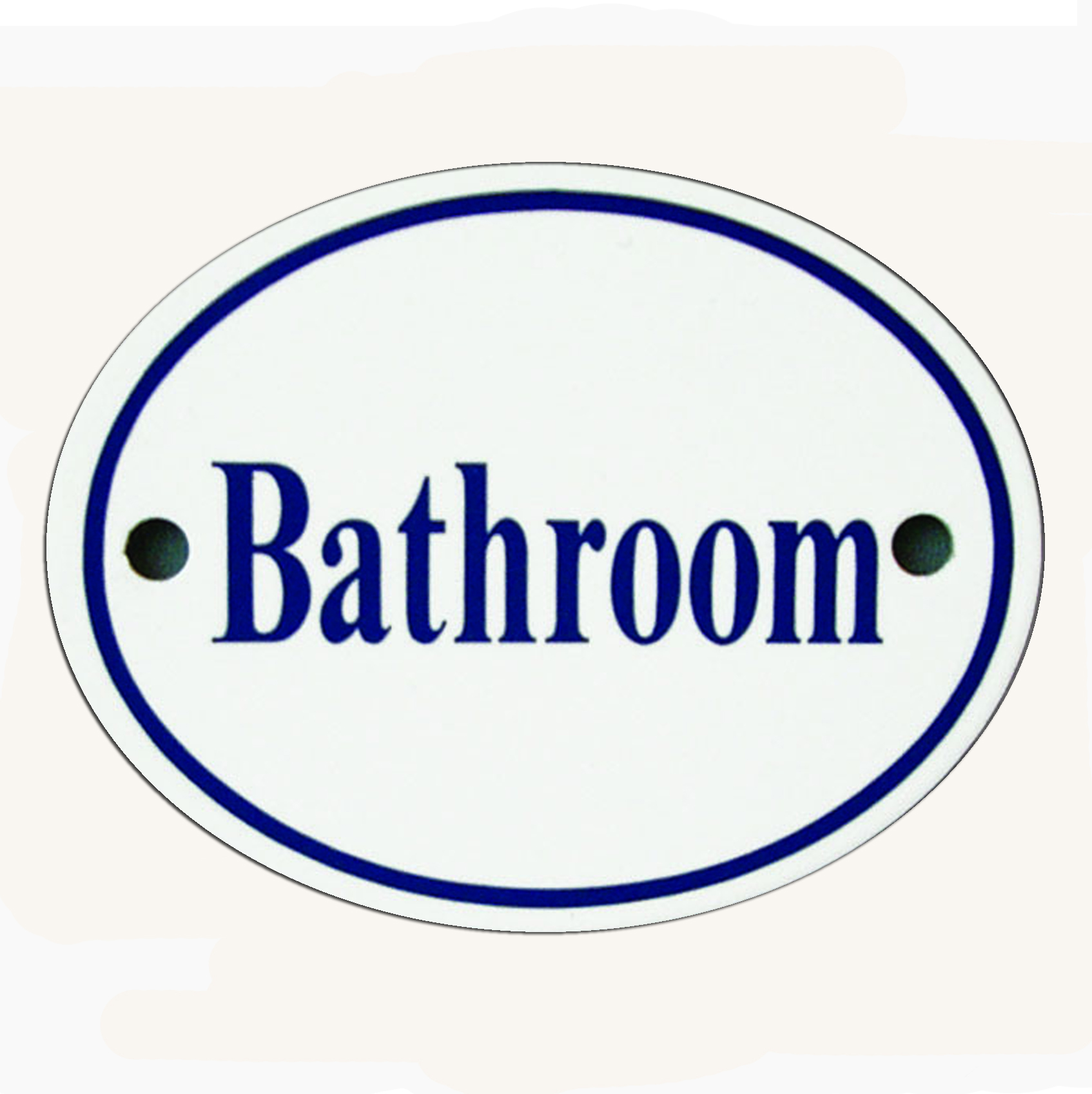 White & Blue Enamel Bathroom Sign