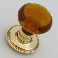 Amber Glass Chequerboard Door Knobs