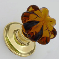 Amber Glass Daisy Mortice Knobs