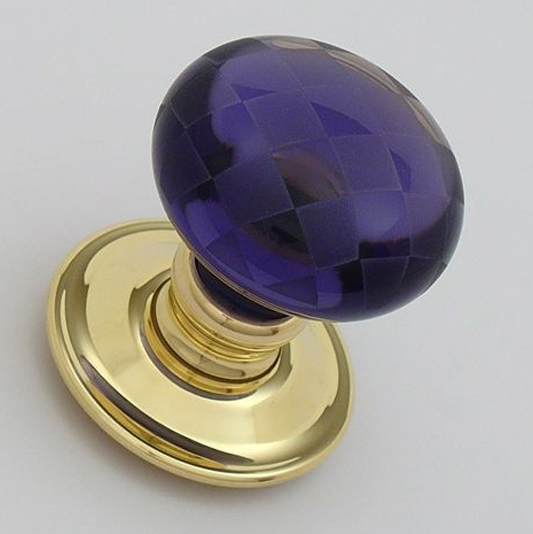 Amethyst Glass Chequerboard Door Knobs