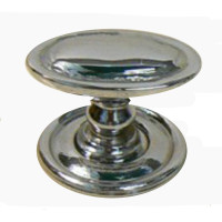Edwardian Chrome Oval Cupboard Knob
