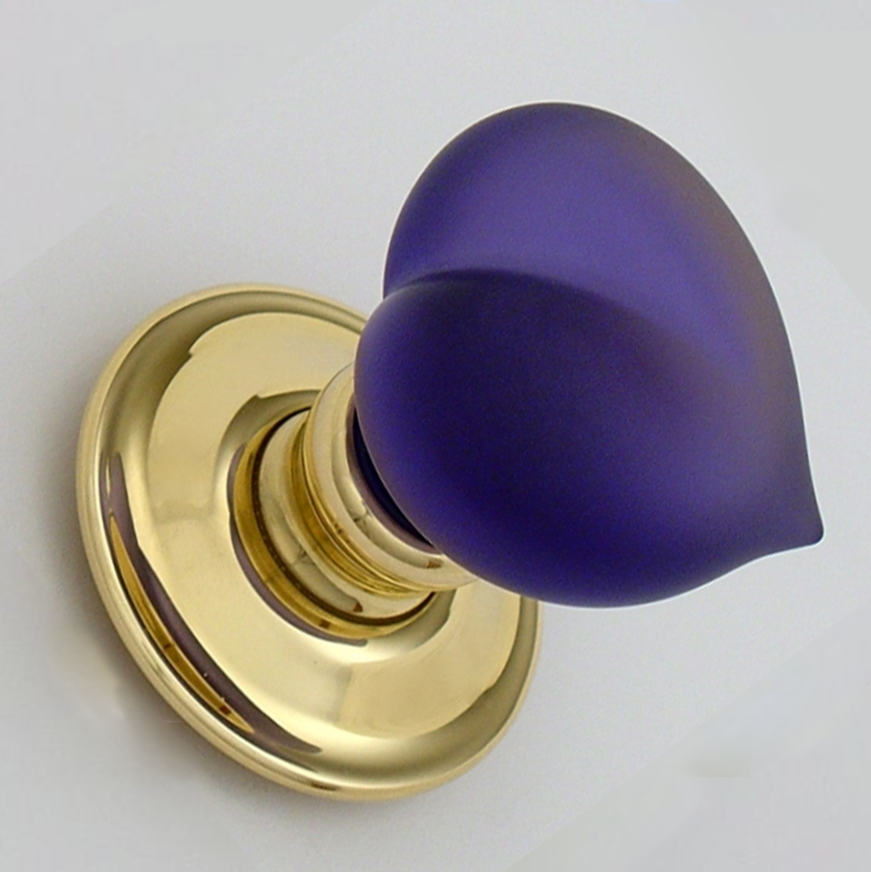 Pair Amethyst Glass Love Door Handles