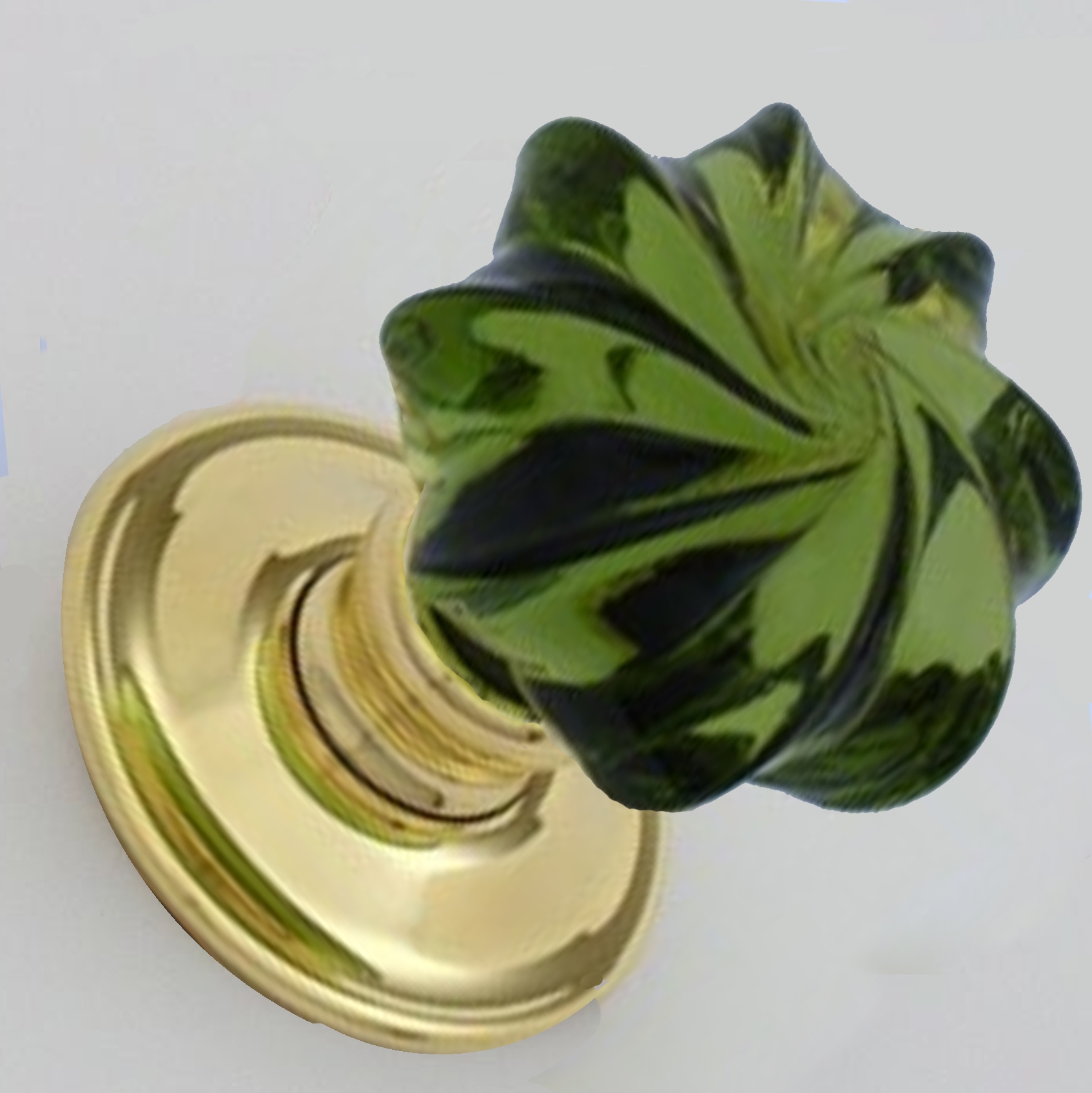 Peridot Green Glass Mortice Knobs