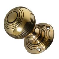 Georgian Reeded Brass Door Knobs
