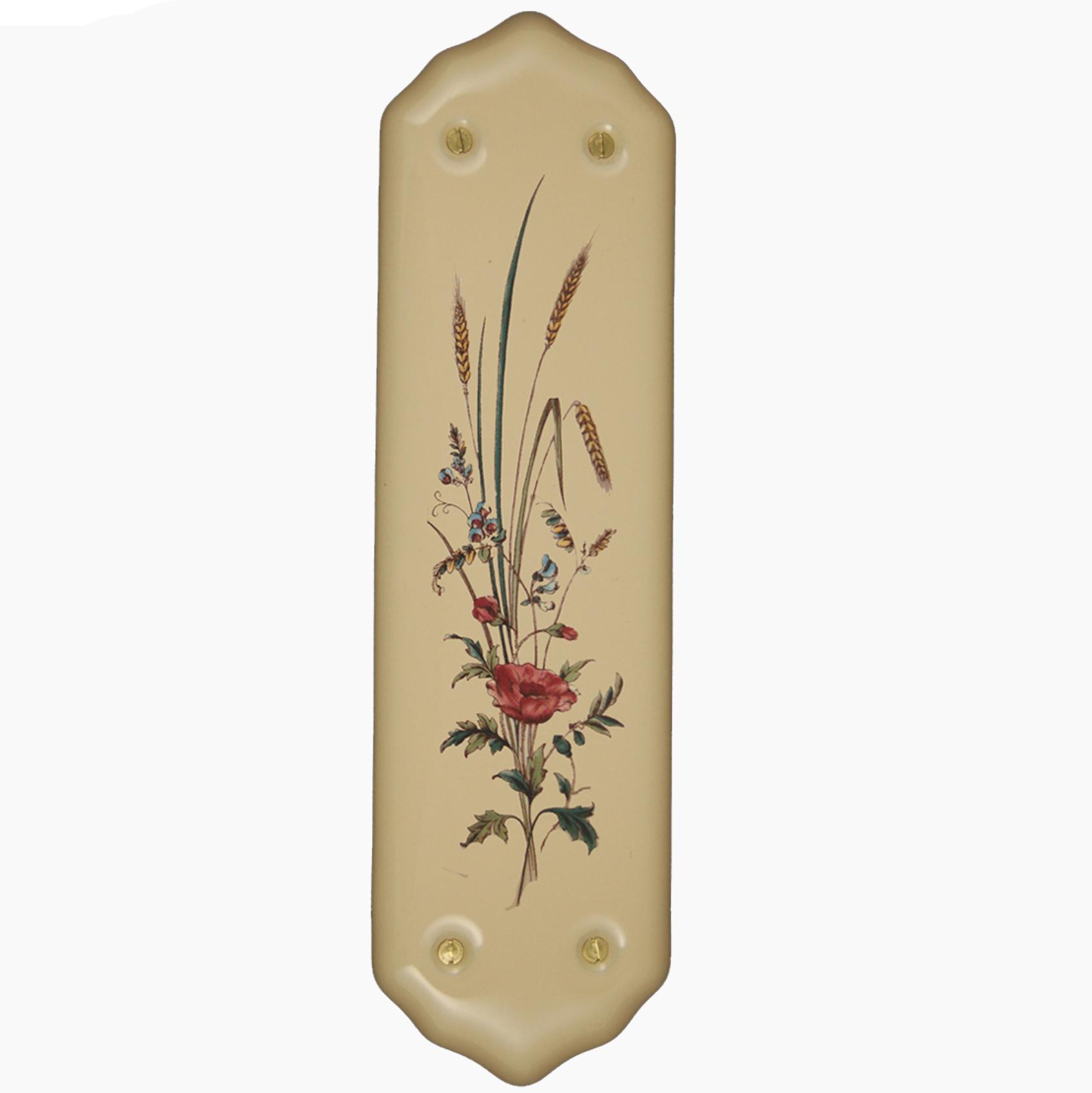 Snobsknobs cream porcelain fingerplate poppy wheatsheaf for Door finger plates