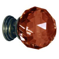 Dark Amber Crystal Knob Antique Brass Base